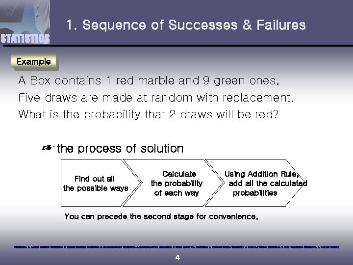 1. Sequence of Successes & Failures STATISTICS Example A Box contains 1 red marble
