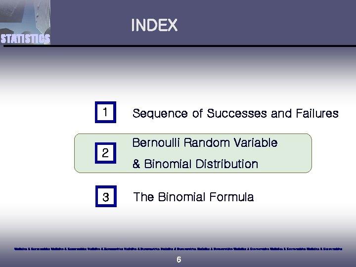 INDEX STATISTICS 1 2 3 Sequence of Successes and Failures Bernoulli Random Variable &