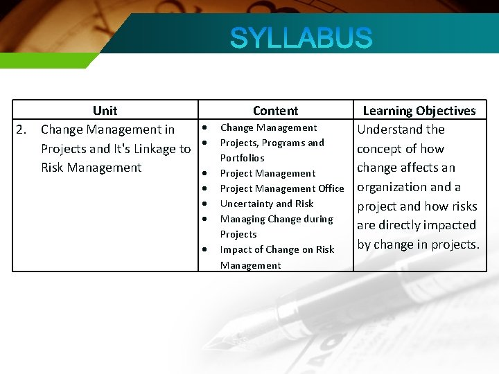 2. Unit Change Management in Projects and It's Linkage to Risk Management Content Change