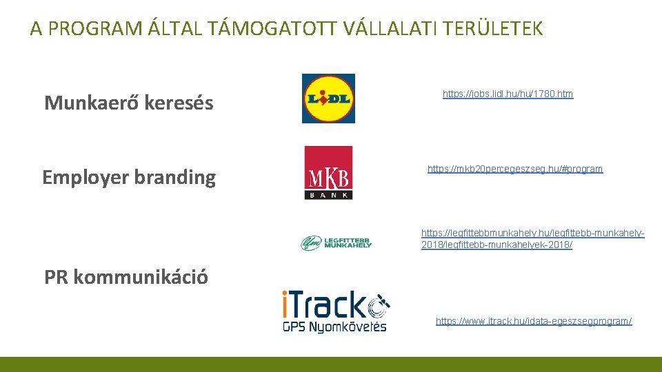 A PROGRAM ÁLTAL TÁMOGATOTT VÁLLALATI TERÜLETEK Munkaerő keresés Employer branding https: //jobs. lidl. hu/hu/1780.