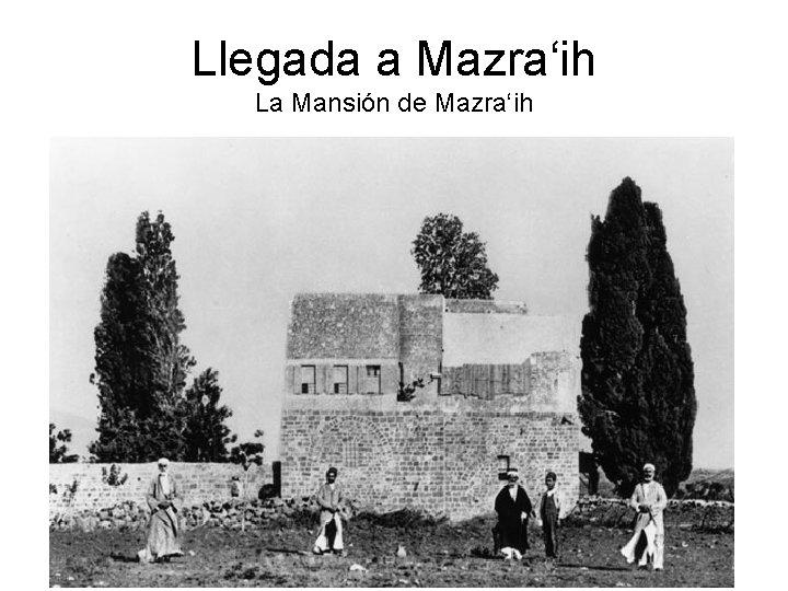 Llegada a Mazra'ih La Mansión de Mazra'ih