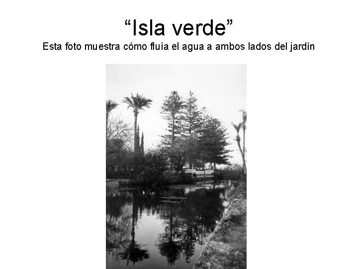"""""""Isla verde"""" Esta foto muestra cómo fluía el agua a ambos lados del jardín"""