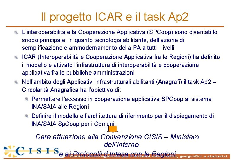 Il progetto ICAR e il task Ap 2 L'interoperabilità e la Cooperazione Applicativa (SPCoop)