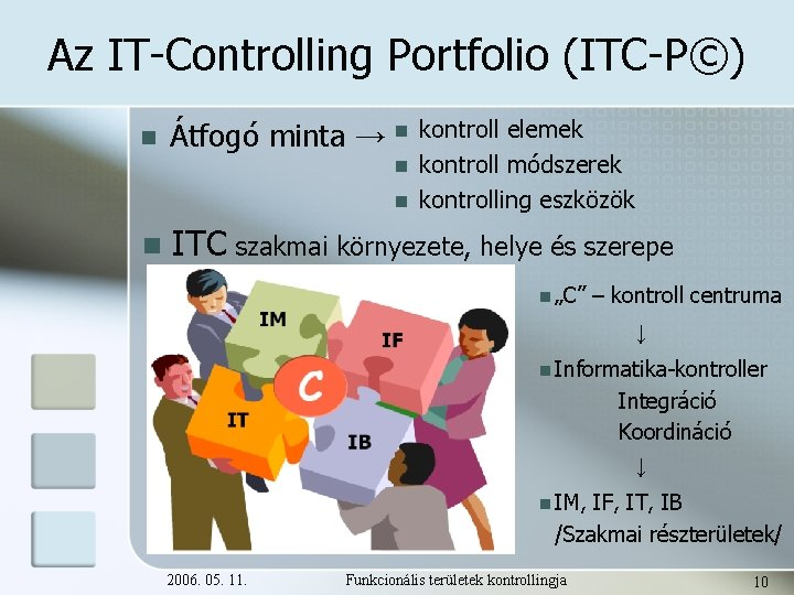 Az IT-Controlling Portfolio (ITC-P©) n Átfogó minta → n n kontroll elemek kontroll módszerek