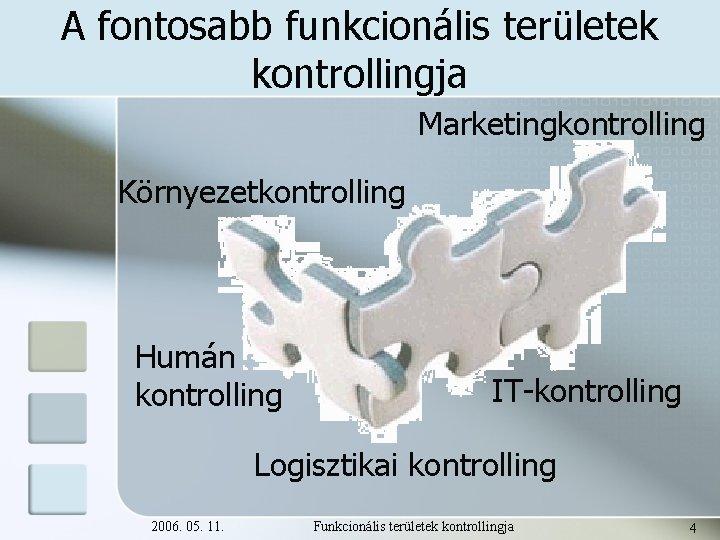 A fontosabb funkcionális területek kontrollingja Marketingkontrolling Környezetkontrolling Humán kontrolling IT-kontrolling Logisztikai kontrolling 2006. 05.