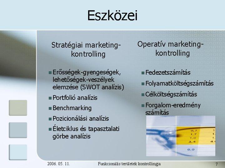 Eszközei Stratégiai marketingkontrolling n Erősségek-gyengeségek, lehetőségek-veszélyek elemzése (SWOT analízis) n Portfolió analízis n Fedezetszámítás