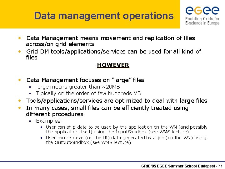 Data management operations • Data Management means movement and replication of files across/on grid