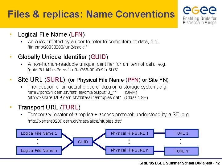 Files & replicas: Name Conventions • Logical File Name (LFN) § An alias created