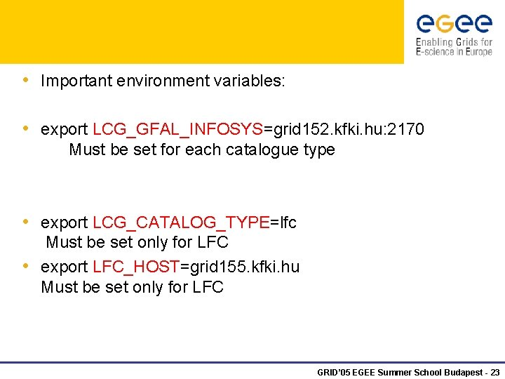 • Important environment variables: • export LCG_GFAL_INFOSYS=grid 152. kfki. hu: 2170 Must be