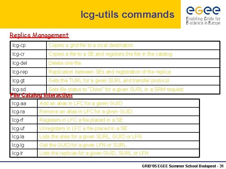 lcg-utils commands Replica Management lcg-cp Copies a grid file to a local destination lcg-cr