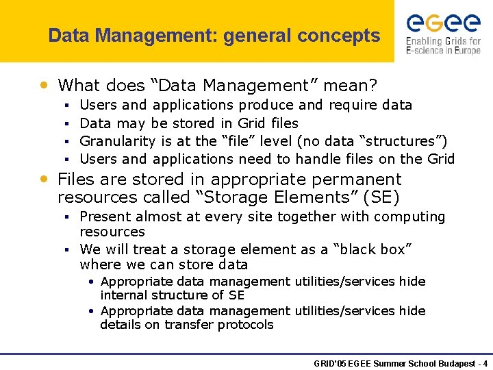 """Data Management: general concepts • What does """"Data Management"""" mean? § § Users and"""