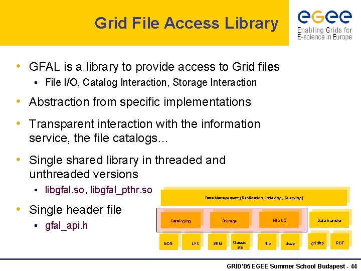 Grid File Access Library • GFAL is a library to provide access to Grid