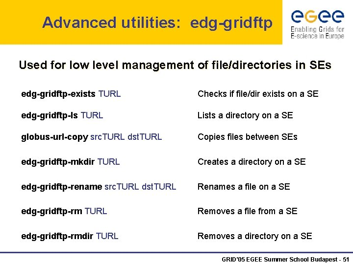 Advanced utilities: edg-gridftp Used for low level management of file/directories in SEs edg-gridftp-exists TURL