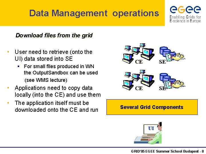 Data Management operations Download files from the grid • User need to retrieve (onto