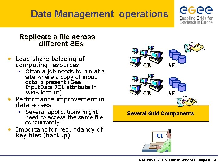 Data Management operations Replicate a file across different SEs • Load share balacing of