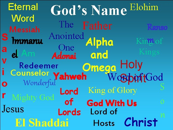 Eternal God's Name Elohim Word The Father Ranso Messiah S Immanu Anointed m of