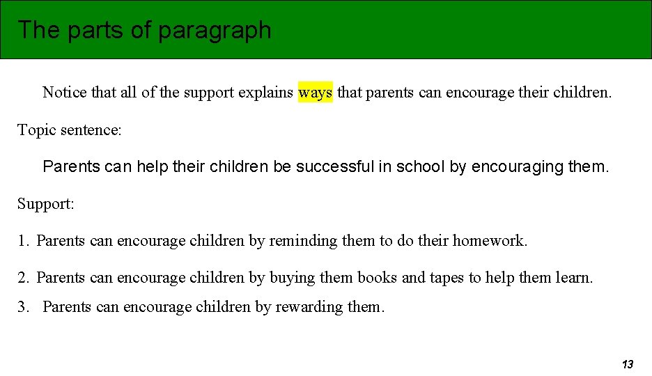 The parts of paragraph Notice that all of the support explains ways that parents
