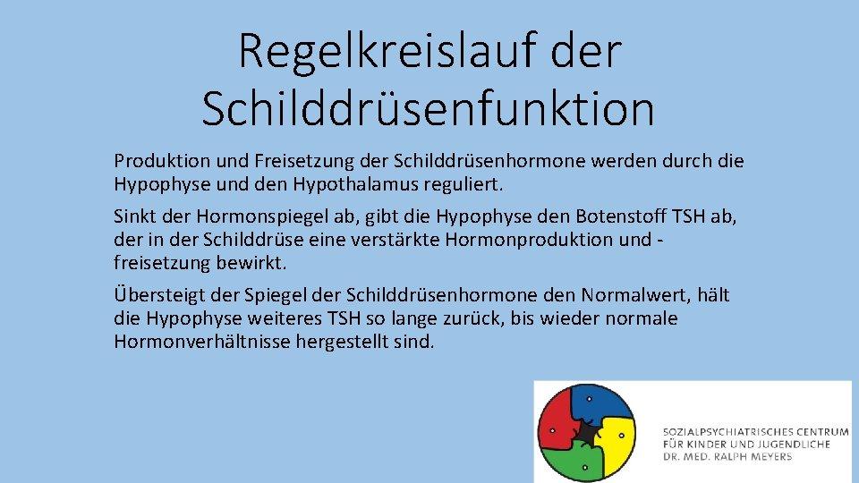 Regelkreislauf der Schilddrüsenfunktion Produktion und Freisetzung der Schilddrüsenhormone werden durch die Hypophyse und den