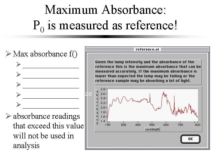 Maximum Absorbance: P 0 is measured as reference! Ø Max absorbance f() lamp intensity