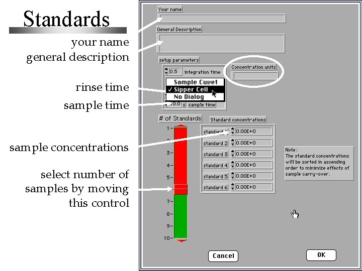 Standards your name general description rinse time sample concentrations select number of samples by