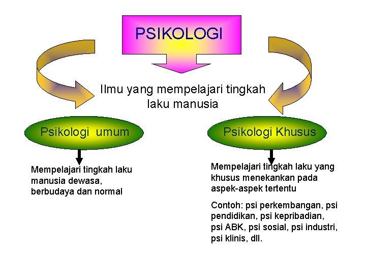 PSIKOLOGI Ilmu yang mempelajari tingkah laku manusia Psikologi umum Mempelajari tingkah laku manusia dewasa,