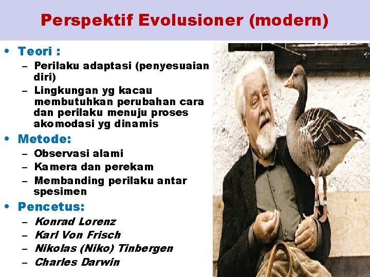 Perspektif Evolusioner (modern) • Teori : – Perilaku adaptasi (penyesuaian diri) – Lingkungan yg