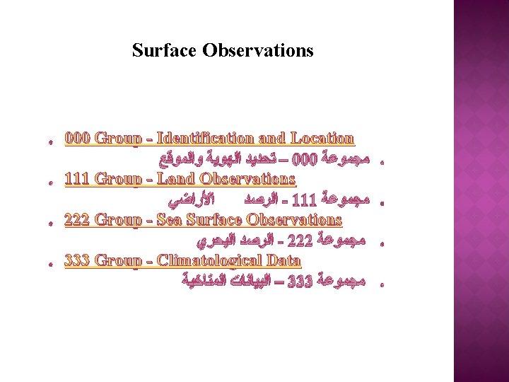 Surface Observations o o 000 Group - Identification and Location – ﺗﺤﺪﻳﺪ ﺍﻟﻬﻮﻳﺔ ﻭﺍﻟﻤﻮﻗﻊ