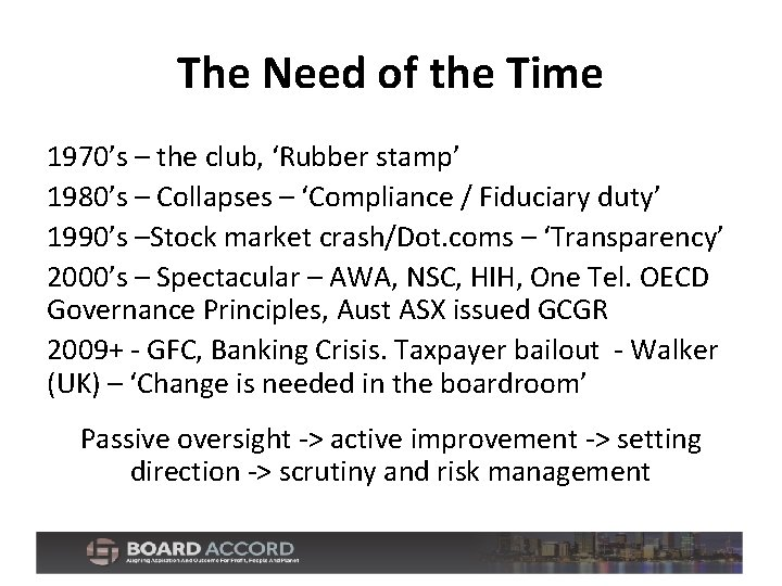The Need of the Time 1970's – the club, 'Rubber stamp' 1980's – Collapses