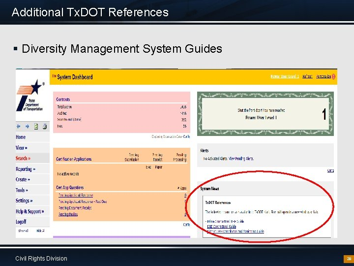 Additional Tx. DOT References § Diversity Management System Guides Civil Rights Division 28