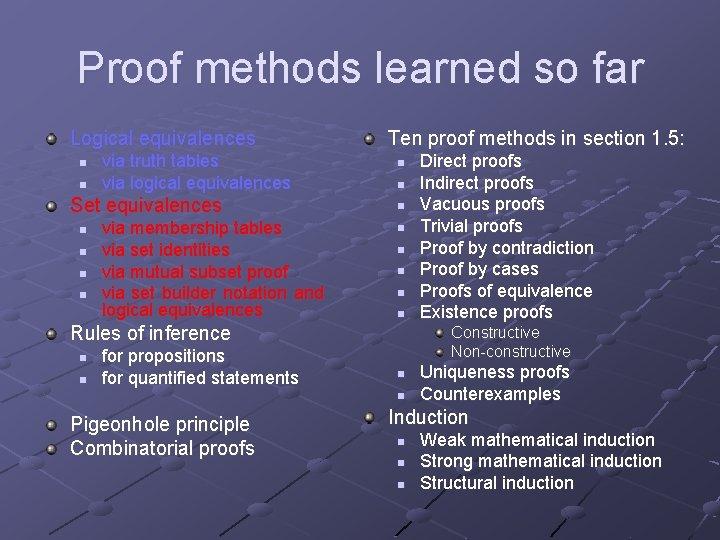 Proof methods learned so far Logical equivalences n n via truth tables via logical
