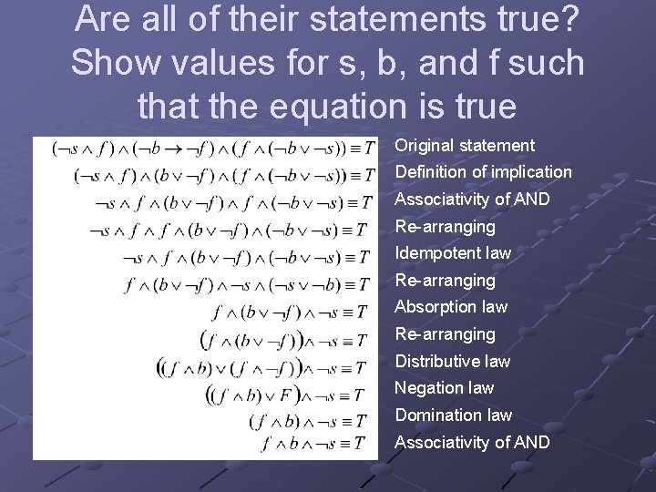 Are all of their statements true? Show values for s, b, and f such