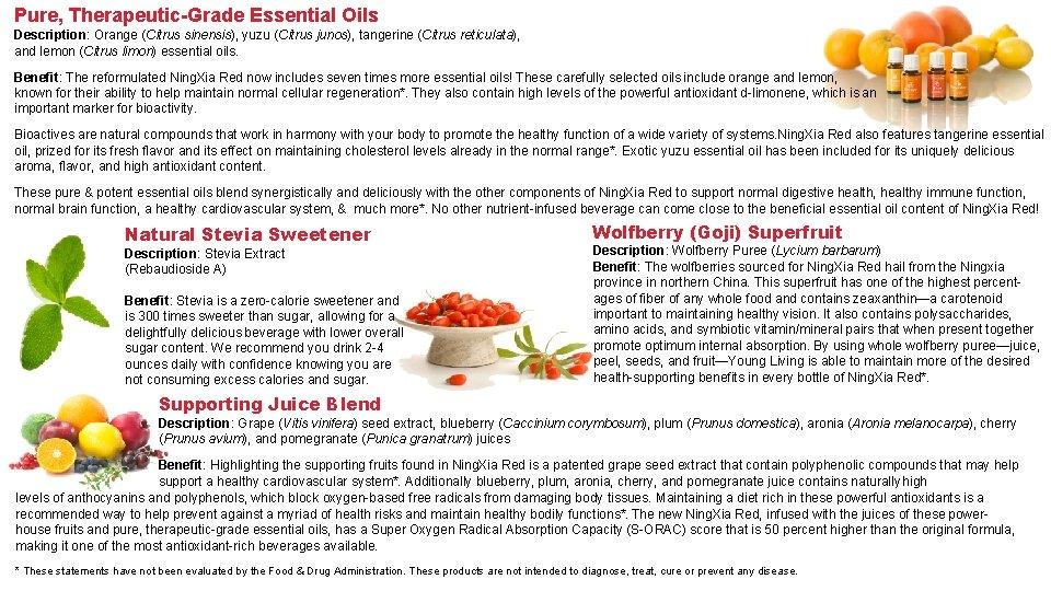 Pure, Therapeutic-Grade Essential Oils Description: Orange (Citrus sinensis), yuzu (Citrus junos), tangerine (Citrus reticulata),