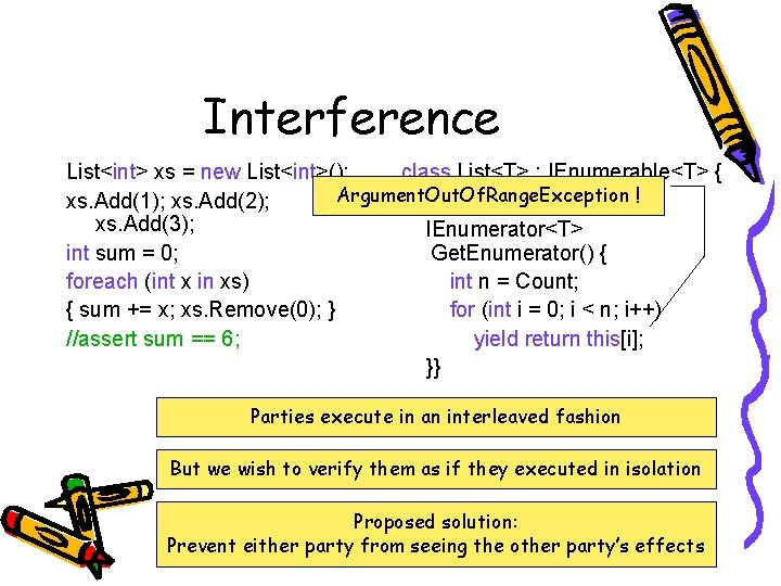 Interference List<int> xs = new List<int>(); class List<T> : IEnumerable<T> { Argument. Out. Of.