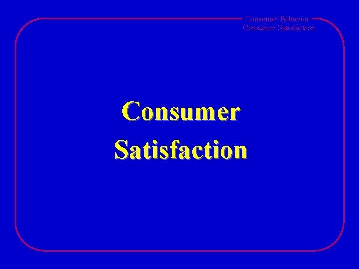 Consumer Behavior Consumer Satisfaction