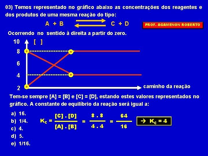 03) Temos representado no gráfico abaixo as concentrações dos reagentes e dos produtos de