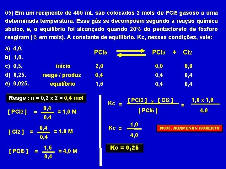 05) Em um recipiente de 400 m. L são colocados 2 mols de PCl