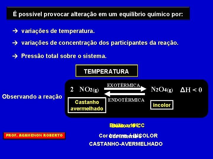 É possível provocar alteração em um equilíbrio químico por: variações de temperatura. variações de