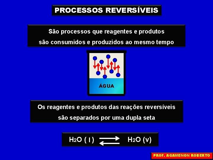 PROCESSOS REVERSÍVEIS São processos que reagentes e produtos são consumidos e produzidos ao mesmo