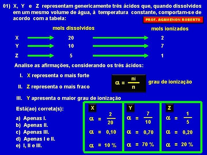 01) X, Y e Z representam genericamente três ácidos que, quando dissolvidos em um
