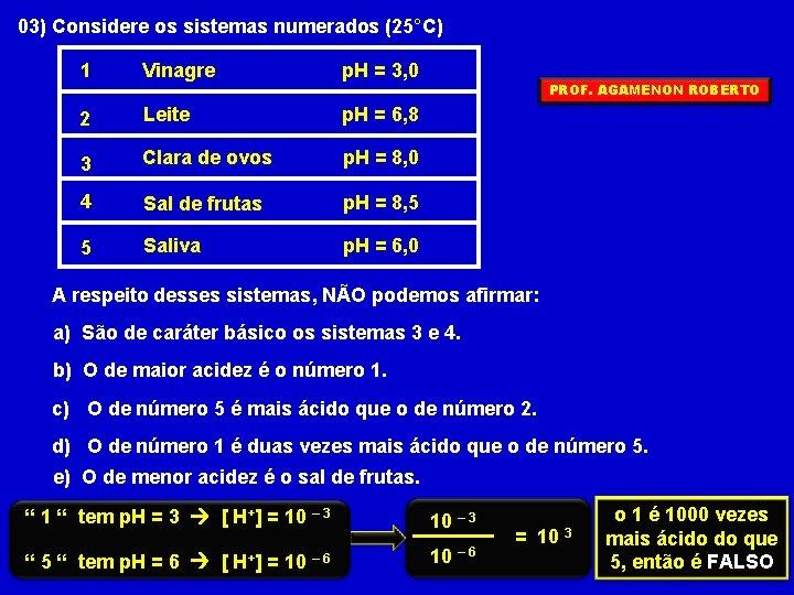 03) Considere os sistemas numerados (25°C) 1 Vinagre p. H = 3, 0 2