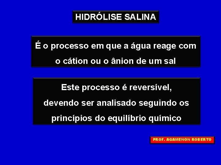 HIDRÓLISE SALINA É o processo em que a água reage com o cátion ou