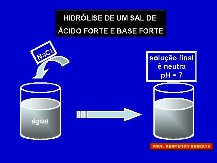 HIDRÓLISE DE UM SAL DE ÁCIDO FORTE E BASE FORTE l C a N