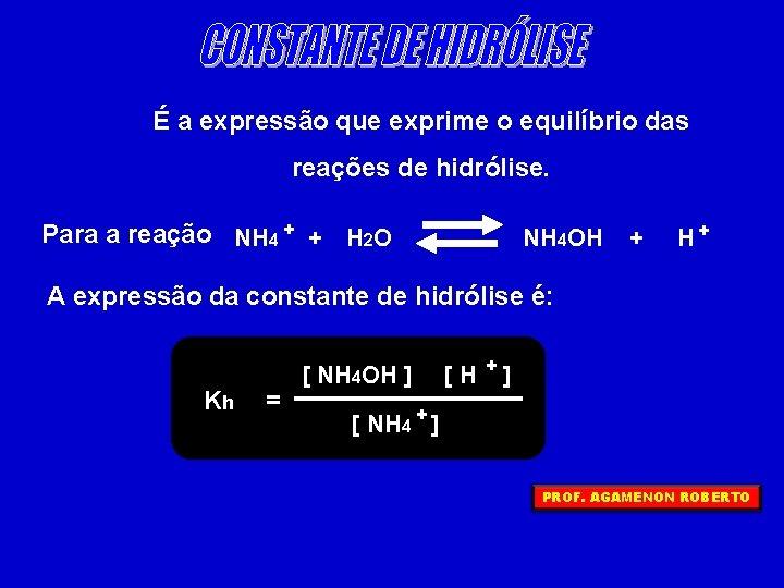 É a expressão que exprime o equilíbrio das reações de hidrólise. Para a reação