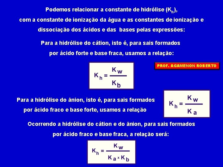Podemos relacionar a constante de hidrólise (Kh), com a constante de ionização da água