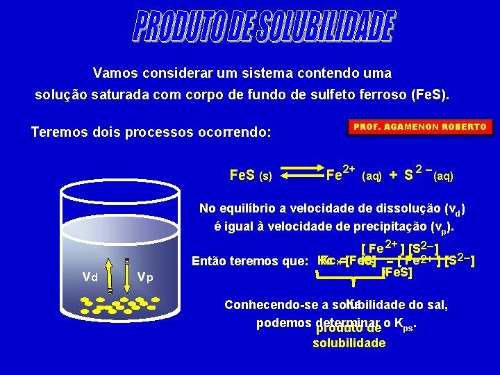 Vamos considerar um sistema contendo uma solução saturada com corpo de fundo de sulfeto