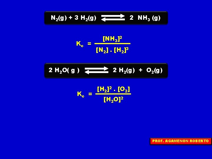 N 2(g) + 3 H 2(g) Kc = 2 H 2 O( g )