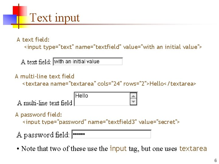 """Text input A text field: <input type=""""text"""" name=""""textfield"""" value=""""with an initial value""""> A multi-line"""