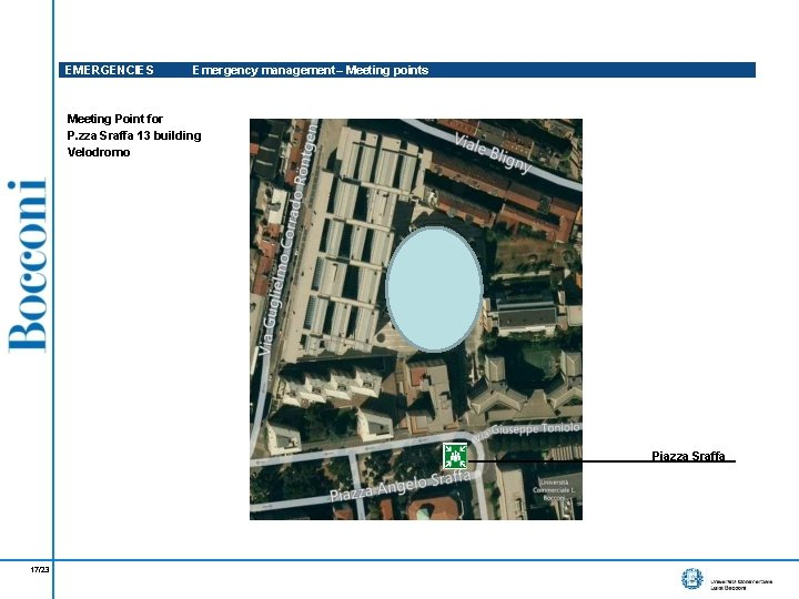 EMERGENCIES Emergency management– Meeting points Meeting Point for P. zza Sraffa 13 building Velodromo