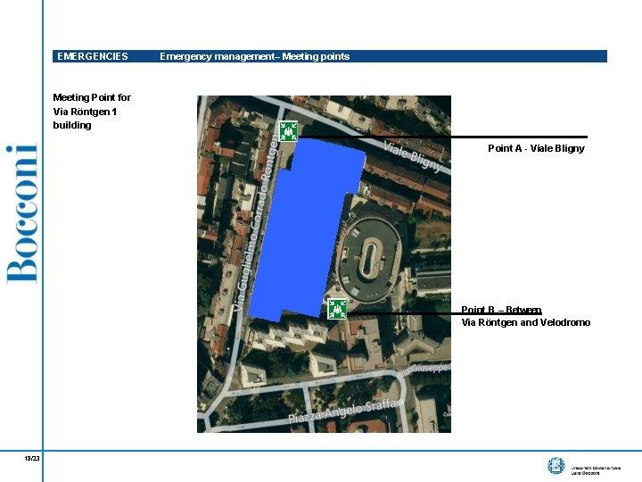 EMERGENCIES Emergency management– Meeting points Meeting Point for Via Röntgen 1 building Point A