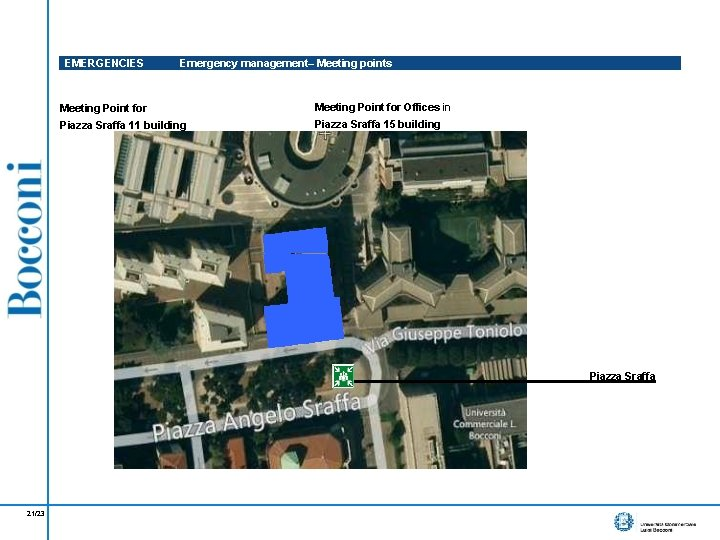 EMERGENCIES Emergency management– Meeting points Meeting Point for Offices in Piazza Sraffa 11 building